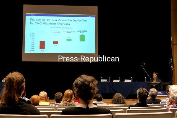 KAYLA BREEN/ STAFF PHOTO<br /> During the recent North Country ACA Repeal Roundtable at Clinton Community College, Megan Baldwin, assistant secretary for health at the State Executive Chamber, talks about the potential impact that passage of the House of Representative's American Health Care Act or the Senate's proposed Better Care Reconciliation Act would have in the state. The cuts would especially hurt those who rely on Medicaid services, Baldwin said, and in the North Country, one in three of them is a child. Also, according to statistics presented at the session, 74 percent of nursing home residents; 24 percent of emergency room/clinic visits and outpatient surgeries; and 40 percent of baby deliveries are currently covered by Medicaid.