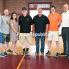 GABE DICKENS/ P-R PHOTO<br /> From left to right, Chris Hartmann, Roger Long, Mary Durgan, Tom Lacey, Shane Parliament, Kevin Daugherty, Neil Fesette and Justyn Gordon will all take part in the Adirondack Coast Premier Basketball Camp that begins July 10.
