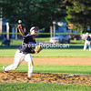 KAYLA BREEN/ STAFF PHOTO<br /> Clinton County Sr. Mariners pitcher Kamm Cassidy delivers a pitch to S.D. Ireland during Tuesday's American Legion baseball game at Lefty Wilson Field in Plattsburgh.