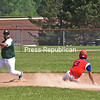 KAYLA BREEN/ STAFF PHOTO<br /> John Zayas of the Fourth Ward A's secures an out before Saranac's Austin Medeiros can slide safely into second during a Champlain Valley Baseball League game Sunday at Saranac High School.