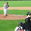 KAYLA BREEN/ STAFF PHOTO<br /> Plattsburgh RedBirds pitcher Scott Hall delivers a pitch to Sullivan Explorers batter Luis Touron During Monday's Empire Professional Baseball League game at Chip Cummings Field.