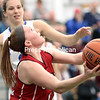 GABE DICKENS/ P-R PHOTO<br /> Saranac's Makenna Provost goes in for a reverse layup during the Champlain Valley Athletic Conference's Exceptional Seniors girls basketball game Tuesday at Seton Catholic.