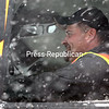 GABE DICKENS/ P-R PHOTO<br /> City of Plattsburgh snowplow driver Brad Polhemus pilots his plow truck through the snows of blizzard Stella along Montcalm Avenue Tuesday. Polhemus has worked with the city's Public Works Department for 20 years.