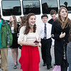 GABE DICKENS/ P-R PHOTO<br /> Area students disembark from a Ground Force One limousine bus in style en route to the sixth-annual I Stand Against Bullying Video Awards at SUNY Plattsburgh's E. Glenn Giltz Auditorium Friday evening.