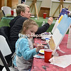 JOANNE KENNEDY/ P-R PHOTO<br /> Patty Husband and her daughter Lyla participate in the recent Paint and Ice Cream Social at the Peru Volunteer Fire Department. Iyla choose to paint a beach scene, while her mom included an elephant in her creation. At the end of the painting session, all had the opportunity to make their own ice cream sundae. Jessie Furnia was the instructor for the class, which was a fundraiser for the Fire Department.