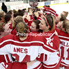 GABE DICKENS/ P-R PHOTO<br /> The Plattsburgh State women's hockey team hoists the ECAC West championship trophy after knocking off Elmira by the score of 2-1 Saturday at Stafford Ice Arena.