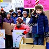 "ALVIN REINER/ P-R PHOTO<br /> Seven-year-old Evan Beech addresses the crowd before heading out on his recent march, ""Evan's Call to Protest,"" in Westport. The rally began with an extemporaneous speech by the child supporting the Environmental Protection Agency, clean water and other matters. Forty-plus people — more than half children — followed him in a mile-long walk through the village. While most motorists seemed to give indications of support, one Westport resident quickly opened the back door of his home and yelled, ""God bless Trump."" ""I thought more would come,"" Evan said after the event, but his mom, Rachel Dowty, said she was ""overwhelmed"" by the turnout. ""I love the fact that Evan is learning that his voice means something."""