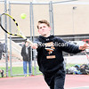 KAYLA BREEN/ STAFF PHOTO<br /> Plattsburgh High's Brendan Whalen lunges for a ball during a Champlain Valley Athletic Conference boys tennis match Wednesday in Plattsburgh.