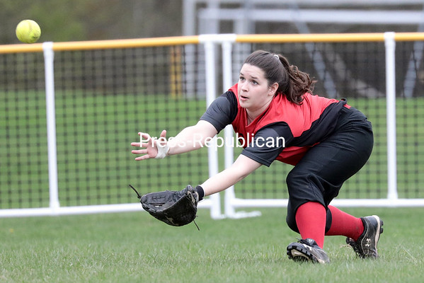 GABE DICKENS/ P-R PHOTO<br /> Beekmantown's Hannah Lafountain attempts a diving catch on a shallow fly ball to left field during Thursday's Champlain Valley Athletic Conference softball game against Northeastern Clinton at the Beekmantown Recreation Park.