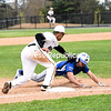 KAYLA BREEN/ STAFF PHOTO<br /> Plattsburgh High's Liam Rascoe tags out Peru's Ryley O'Connell during Thursday's Champlain Valley Athletic Conference baseball game at Chip Cummings Field in Plattsburgh.