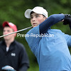 GABE DICKENS/ P-R PHOTOS<br /> Lake Placid's Drew Maiorca tees off on the 16th hole.