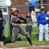 KAYLA BREEN/STAFF PHOTO<br /> Plattsburgh High's Shea Frady swings at a pitch during a Champlain Valley Athletic Conference softball game Wednesday in Peru.