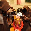 """JACK LADUKE/ P-R PHOTO<br /> Jacob Manely, 7, of Fort Covington faces off with two Jawas from the Planet Tatooine, characters from """"Star Wars."""" A big crowd showed up for the second-annual Comic Con at Franklin Academy in Malone. Montreal actress Noelle Hannibal, who was in """"Star Trek: First Contact,"""" was the celebrity guest. More photos, Page A3."""