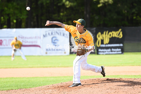 KAYLA BREEN/ STAFF PHOTO Northern Adirondack's Brett Juntunen pitches to a Chazy batter during Saturday's Section VII Class D championship game at Chip Cummings Field in Plattsburgh.