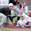 GABE DICKENS/P-R PHOTO <br /> Plattsburgh High's Jacob Labounty tags out Saranac's Dylan Stoughton at second base on a steal attempt during a Champlain Valley Athletic Conference baseball game Tuesday at Saranac Central School.