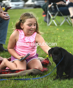 KAYLA BREEN/ STAFF PHOTO Olivia Spaulding, 6, takes a break from playing cards to pet a black lab puppy named Champ during a recent baseball game in Beekmantown.