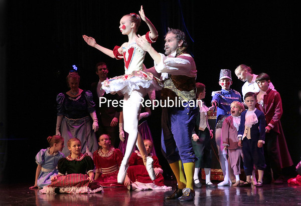 """Dancers perform in the ensemble of """"Snow."""" NYC-based actor Tyler Nye as Drosselmeyer and Julianna DeChavez as the Harlequin perform during the scene """"Harlequin Doll.""""<br /> GABE DICKENS/ P-R PHOTO"""
