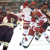 Plattsburgh State's Madison Walker (17) prepares to put a shot toward net against Norwich during a non-conference women's hockey game Wednesday at Stafford Ice Arena.<br /> KAYLA BREEN/ STAFF PHOTO