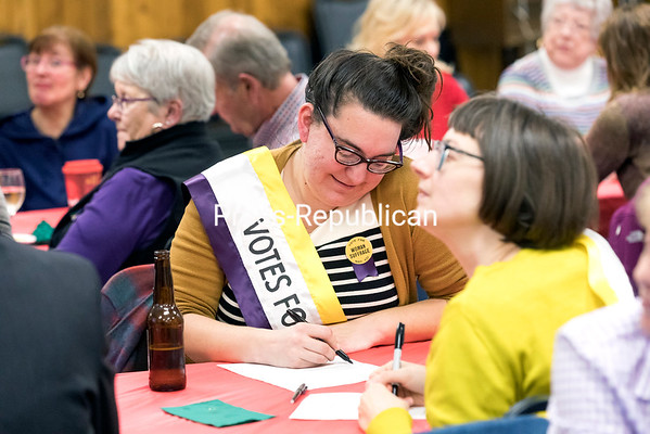 Leni Vradelis (left) and Ellen Adams participate in the recent Great American Women's Suffrage Trivia Challenge, sponsored by the Clinton County Historical Association and the League of Women Voters of the North Country, at the American Legion Post 20 in Plattsburgh. Women won the right to vote in New York state in 1917, three years before the 19th Amendment of the U.S. Constitution was ratified by Congress, giving suffrage nationwide. GABE DICKENS/ P-R PHOTO