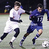 Saranac's Rory Patterson (left) and Ogdensburg Free Academy's Coby Ryan (right) chase after a loose ball during a NYSPHSAA Class B boys soccer regional semifinal Wednesday at Plattsburgh.<br /> KAYLA BREEN/ STAFF PHOTO