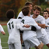 Chazy celebrates its 1-0 victory against Madrid-Waddington in a NYSPHSAA Class D boys soccer regional final Saturday at Plattsburgh High.<br /> KAYLA BREEN/ STAFF PHOTO