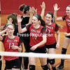 The Beekmantown volleyball team celebrates after defeating Saranac in Champlain Valley Athletic Conference volleyball Thursday evening at Saranac Central School.<br /> GABE DICKENS/ P-R PHOTO