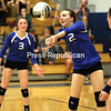 Peru's Erin Sears (2) sets the ball during a Champlain Valley Athletic Conference volleyball match against Beekmantown Tuesday in Peru.<br /> KAYLA BREEN/ STAFF PHOTO