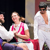 """William Shakespeare, played by Mark Preston, flirts with Tiffany, played by Jessica Rigby, as Elvis Presley, portrayed by Chad Hebert, waits for his own opportunity to charm the bubbly tennis star during a recent rehearsal for the original musical comedy """"The Art of Living,"""" based on the book and lyrics by Dan Gallagher with music by Vivienne Deane and directed by Jackie Robertin, at the Strand Theatre in Plattsburgh. Performances take place at 7:30 p.m. today and 2 p.m. Sunday. Tickets are available online at strandcenter.org.<br /> GABE DICKENS/ P-R PHOTO"""
