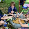 A group of youngsters are gainfully employed as they remove corn kernels at Lakeside School's play area at the second-annual Adirondack Harvest Festival at the Essex County Fairgrounds in Westport. Among the day's activities were approximately 30 agricultural vendors, demonstrations on cider pressing, bees, soap-making, baking, mushroom cultivation, seed harvesting and flax processing, live music by Taylor Haskins and local band Ploughman's Lunch, numerous food vendors and Lakeside School's play area.<br /> ALVIN REINER/ P-R PHOTO