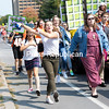 The Plattsburgh High School sophomore class leads the way in the recent homecoming parade down Rugar Street, beginning at Stafford Middle School and ending at the High School. Classes participate by building floats, marching and chanting in the annual event, which is followed by a football game and other special activities.<br /> GABE DICKENS/ P-R PHOTO