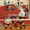 Saranac's Maddie Hoeth (4) goes up to send the ball over the net during Tuesday's Champlain Valley Athletic Conference volleyball match against Northeastern Clinton at Saranac Central School.<br /> KAYLA BREEN/ STAFF PHOTO