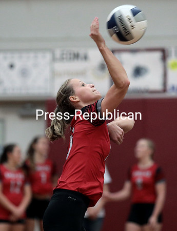 Beekmantown's Lizzie Hynes goes up for a serve during a Champlain Valley Athletic Conference volleyball match against Northeastern Clinton at Northeastern Clinton Central School Thursday evening.<br /> GABE DICKENS/ P-R PHOTO