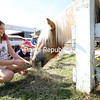 Alexis Burdo, 8, and Patrick Barber, 2, smile and laugh as they gather hay to feed horses Willy and Chili. <br /> KAYLA BREEN/ STAFF PHOTOS