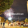 Fireworks illuminate the sky behind Macdonough Monument as spectators gather outside of City Hall to watch The Battle of Plattsburgh's Rocket's Red Glare Fireworks show Friday night.<br /> KAYLA BREEN/ STAFF PHOTO