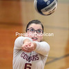 Northeastern Clinton's Ashley Monette plays the ball during Thursday's Champlain Valley Athletic Conference volleyball match against Saranac Lake in Champlain.<br /> GABE DICKENS/ P-R PHOTO