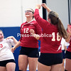 The Saranac volleyball team celebrates a point in the third and final set of Thursday's Champlain Valley Athletic Conference match against Peru at Peru Central School.<br /> GABE DICKENS/ P-R PHOTO