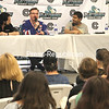 """Actor Brian O'Halloran talks about his experiences playing Dante Hicks in the cult classic '90s film """"Clerks"""" during a panel discussion. Joining O'Halloran was """"Clerks"""" co-star Scott Schiaffo (left), who played Chewlies Gum Guy. Panels today include Star Wars-themed lessons in stage fighting from noon to 1 p.m. and a """"Battle of the Movies"""" film debate game from 1 to 1:45 p.m.<br /> <br /> Ben Rowe/Staff Photo"""