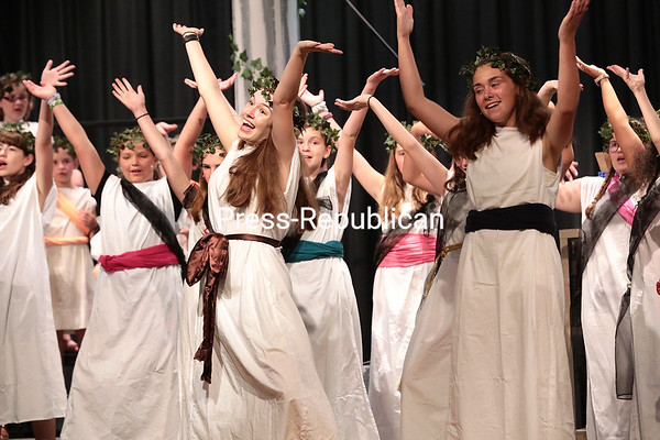 """Members of the Adirondack Regional Theatre rehearse a scene in the musical """"Xanadu Jr."""", directed by Mason Barber, in the Peru Central High School auditorium Thursday evening. The project is made possible through funding by the Decentralization Program, a regrant program of the New York State Council on the Arts, which is administered by the Adirondack Lakes Center of the Arts. Performances takes place at 6:30 p.m. Saturday, July 14, in the Peru High School auditorium and 2 p.m. Sunday, July 15, at the Strand Theatre in Plattsburgh. Tickets are $10 at the door. GABE DICKENS/ P-R photo"""