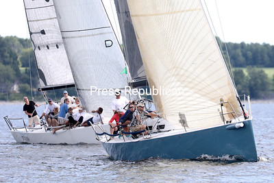 Skipper John Touron of Shelburne, Vermont, and his crew aboard Dunder took home the Mayor's Cup in the 41st annual Mayor's Cup Regatta Saturday on Lake Champlain. GABE DICKENS/ P-R PHOTO