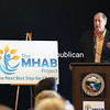 Michael Carpenter, president and founder of the MHAB Project, speaks at a press conference at the Clinton Community College Dining Hall in Plattsburgh. The MHAB Project is in the process of buying the 10 acres of land that houses the Clinton Communtiy College dormitories and dining hall and turning them into a shelter to help combat homelessness. Speakers at the press conference included United Way of the Adirondacks Executive Director John Bernardi, Clinton Community College President Ray DiPasquale, Clinton County Sheriff and CCC Board Chairman David Favro, Plattsburgh Town Supervisor Michael Cashman, North Country Chamber of Commerce President Garry Douglas and Assemblyman Billy Jones (D-Chateaugay), who all support the project.<br /> KAYLA BREEN/ Staff photo