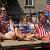 Girl Scouts Troop 4102 of Willsboro shows its colors along the parade route in Essex.<br /> ALVIN REINER/ P-R PHOTO