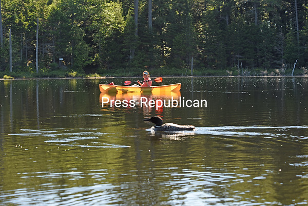 Plattsburgh resident Wendy Patunoff appears to be keeping pace with a loon as she floats along the water in the St. Regis Canoe Area. Located in the towns of Brighton, Harrietstown and Santa Clara in Franklin County, St. Regis is the largest wilderness canoe area in the Northeast and the only designated canoe area in the state.<br /> JOANNE KENNEDY/ P-R photo