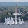 More than 30 Thistle-class sailboats, which are 17-foot sailing dinghies of the same design and featuring a crew of three, compete in the Atlantic Coast Championships on Lake Champlain alongside the regatta. Racing is also taking place throughout the morning and afternoon today.<br /> GABE DICKENS/ P-R photos