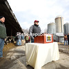 Clinton County Farm Bureau President Todd Giroux (right) and former president Tony LaPierre take turns speaking about issues facing the agricultural industry, including low milk prices, during a press conference at Giroux Farm in Beekmantown on Wednesday.<br /> KAYLA BREEN/ STAFF PHOTO