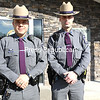 New York State Troopers Eric Courcelle (left) and Aaron Lemay stand outside the Troop B barracks in Plattsburgh on Wednesday. They were the first to arrive at Dickson Point in Beekmantown after Mark Stone's all-terrain vehicle plunged through the ice on Lake Champlain last Saturday, and both entered the water to try to save him. Tragically, the West Chazy man could not be revived.<br /> KAYLA BREEN/ STAFF PHOTO