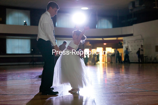 Joe Hance and his stepdaughter, 6-year-old Addison Lannon, of Dannemora dance together during the Swinging Spring Fling father-daughter dance hosted by the City of Plattsburgh and Dance Plattsburgh at the City Recreation Center in Plattsburgh. The recent evening event drew about 100 people and featured swing dance lessons, a photobooth, refreshments and more.<br /> GABE DICKENS/ P-R photo