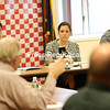 Beekmantown dairy farmer Joe Giroux speaks to Congresswoman Elise Stefanik during a roundtable discussion at the Beekmantown Town Hall on Wednesday. Farms are going under, milk producers told her — those remaining need changes fast in order to survive.<br /> KAYLA BREEN/ Staff photo