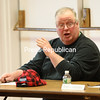 Beekmantown Town Supervisor Sam Dyer, who is also a farmer, raises his concerns to Congresswoman Elise Stefanik at Monday's event in his town.<br /> KAYLA BREEN/ Staff photo