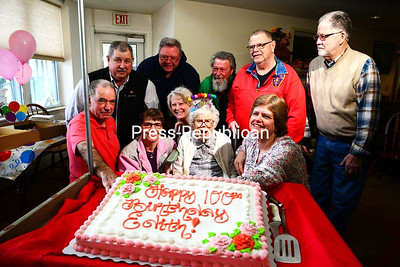 Edith E. Cutting, a resident of Neighborhood House in Keene Valley, is surrounded by friends and family — including Essex County Sheriff Richard Cutting — as she celebrates her 100th birthday on March 31. Edith, who was born in Lewis and was a prolific writer of Adirondack lore and church stories, was an English teacher in Johnson City. Some of her writings and books are on display in the Essex County Clerk's office, courtesy of Clerk Joe Provoncha. JACK LADUKE/ P-R photo