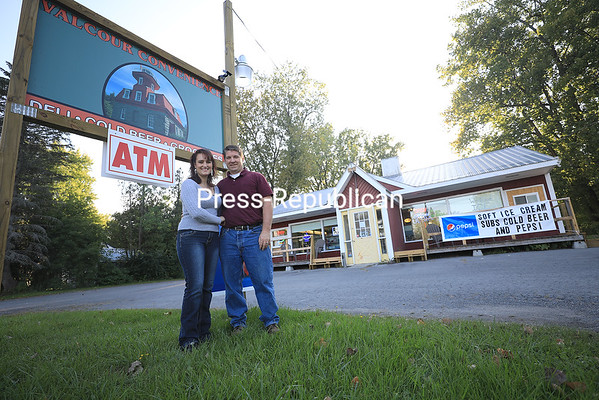 Owners (from left) Heather and Shawn Garrow stand outside of their new business, Valcour Convenience, located along Lake Champlain at 3999 U.S. Route 9 in Plattsburgh. The convenience store features a full deli with call-ahead ordering, soft serve ice cream, bait and tackle, and a beer cave. They also offer a wide array of snacks and drinks. Valcour Convenience is open 7 a.m. to 8 p.m. Monday through Thursday, 7 a.m. to 9 p.m. Fridays, 8 a.m. to 9 p.m. Saturdays and 8 a.m. to 8 p.m. Sundays.<br /> KAYLA BREEN/ Staff photo